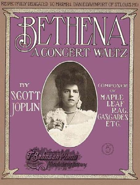 "sheet music cover of Scott Joplin's ""Bethena - A Concert Waltz"""